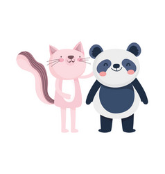 Little pink cat and panda cartoon character on vector