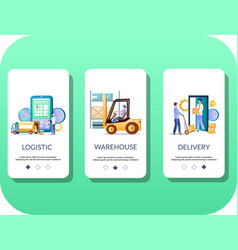 logistics mobile app onboarding screens vector image