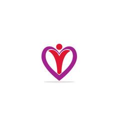 Love heart happy logo vector