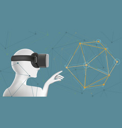 man in vr headset abstract virtual reality vector image