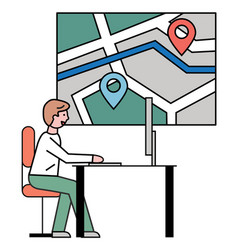 Man working at travel agency city street map vector