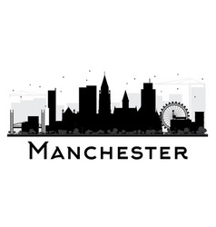 Manchester city skyline black and white silhouette vector