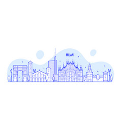 milan skyline italy city buildings vector image