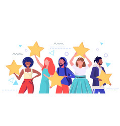 mix race people holding review stars customers vector image