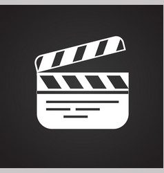 Movie clap board icon on black background for vector