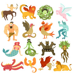 Mythical creatures set vector