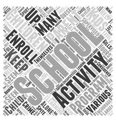Need for after school activities Word Cloud vector