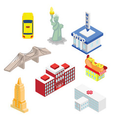 New york isometric attractions vector
