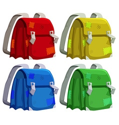 Old schoolbags in four colors vector