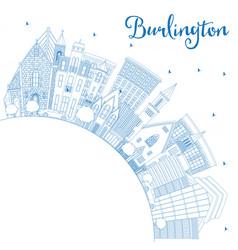 Outline burlington iowa city skyline with blue vector