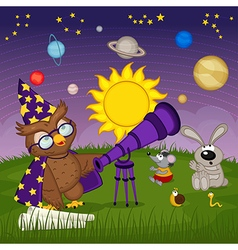 owl astronomer with animal are watching for vector image
