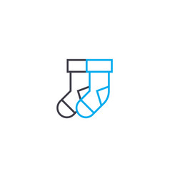 pair of socks thin line stroke icon pair vector image