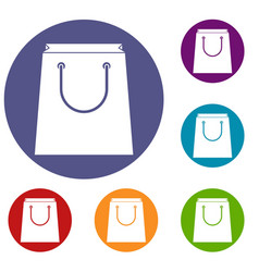 Paper shopping bag icons set vector