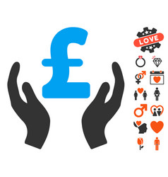 pound care hands icon with dating bonus vector image