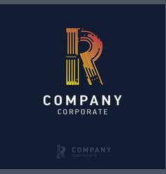 r company logo design with visiting card vector image