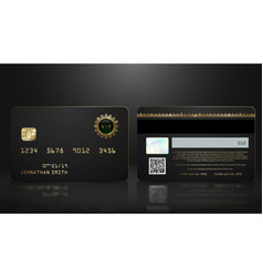 realistic black credit card with abstract vector image
