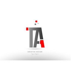 Red grey alphabet letter ta t a logo combination vector