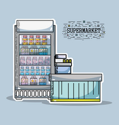 Refrigerator with variety drinks bottles to vector