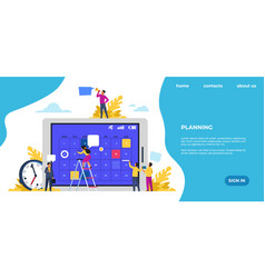 schedule landing page time management office vector image