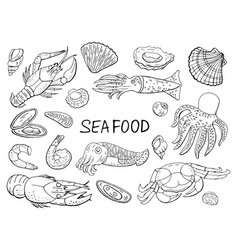 seafood and fish black and white elements vector image