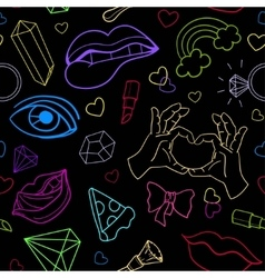 Seamless neon pattern with doodle elements vector image
