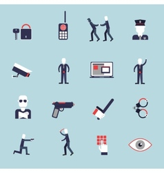 Security guard flat icons vector