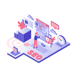 Seo technology isometric vector