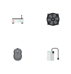 set of computer icons flat style symbols with fan vector image