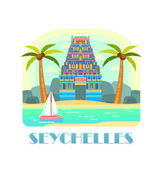 seychelles resort with beach and ocean vector image