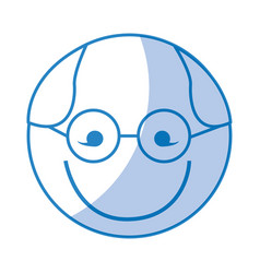 Shadow round glasses man face cartoon vector