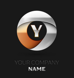 silver letter y logo symbol in the circle shape vector image