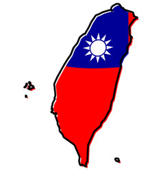 simplified map of taiwan china region outline vector image