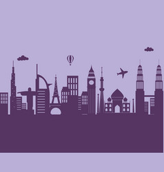 skyline city airplane air balloon architecture vector image