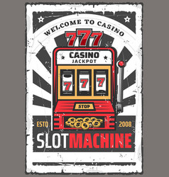 slot machine with win jackpot 777 casino game vector image