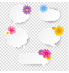 speech bubble set with flowers vector image
