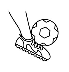 Sport foot with ball soccer line style icon vector