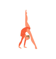 strong young girl do sport gymnastic in red vector image