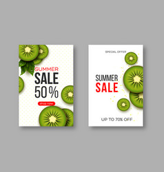 summer sale banners with sliced kiwi pieces vector image