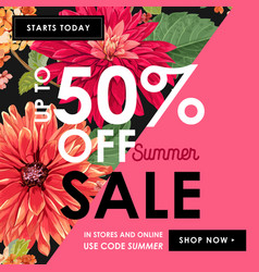 summer sale tropical banner seasonal promotion vector image