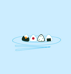 sushi plate with chopsticks traditional asian vector image