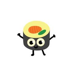 sushi roll cartoon vector image