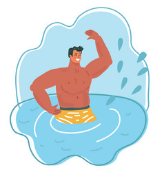 the man falling into water with splash vector image