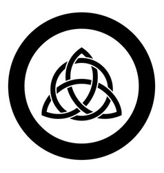 Triquetra in circle trikvetr knot shape trinity vector