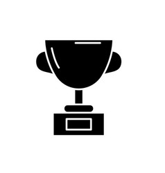 trophy black icon sign on isolated vector image