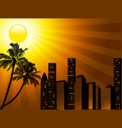 tropical city sunset with palm tree vector image
