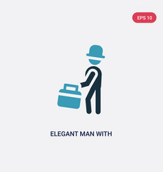 Two color elegant man with suitcase icon from vector