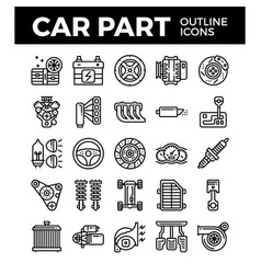Vehicle and car parts outline icons pixel perfect vector