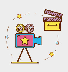 Video camera with clapper board and filmstrips vector