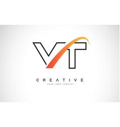 Vt v t swoosh letter logo design with modern vector