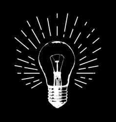 with light bulb modern hipster sketch style idea vector image